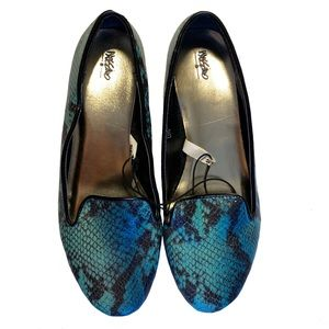 MOSSIMO blue green faux snakeskin loafer flats - 8